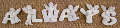 White Resin Angel Embellishments – Always (6 pieces per pack) (clr 70)