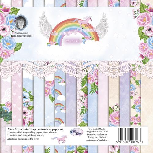 Paper Collection Set 20cm*20cm On the Wings of a Rainbow 250 gsm (14 sheets, 14 designs, 2x7 double-sided sheets, bonus design)
