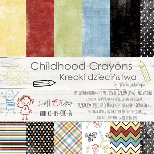 Paper Collection Set 20,3x20,3cm Childhood Crayons, 190 gsm (10 double-sided sheets, 10 designs, 2 units of each sheet, bonus design - 2 sheets)