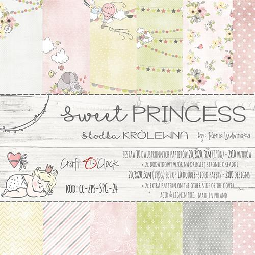 Paper Collection Set 20,3x20,3cm Sweet Princess, 190 gsm (10 double-sided sheets, 10 designs, 2 units of each sheet, bonus design - 2 sheets)