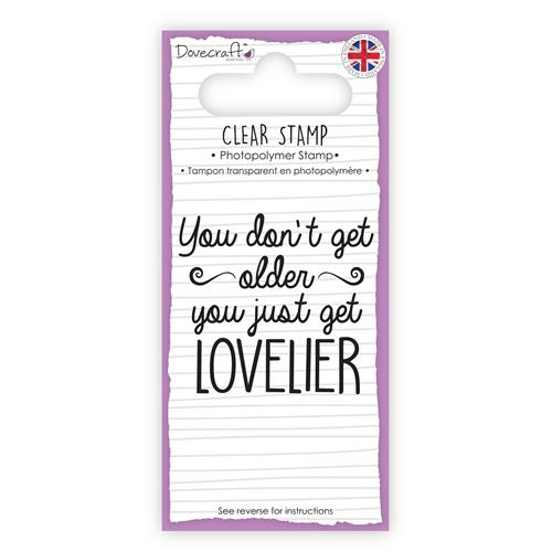 Dovecraft Photopolymer Clear Sentiment Stamp - Lovelier (size of packaging 5.3x11.7cm) (clr 50)