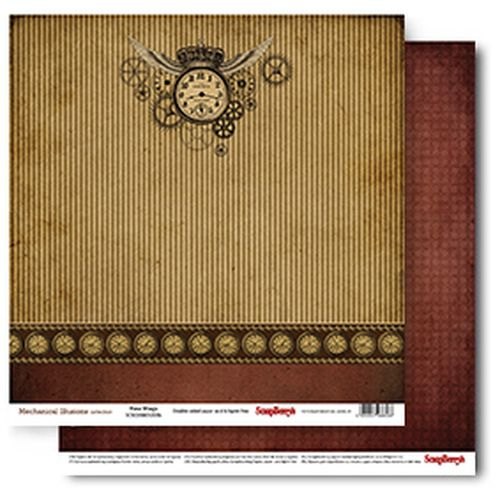 Double-sided Paper Collection Set Mechanical Illusions - Time Wings (12*12–190GSM), 1 Sheet