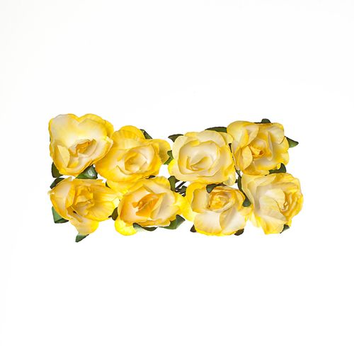 Paper Flowers – Rose – Light Yellow (8 Pieces Per Pack) (clr 50)