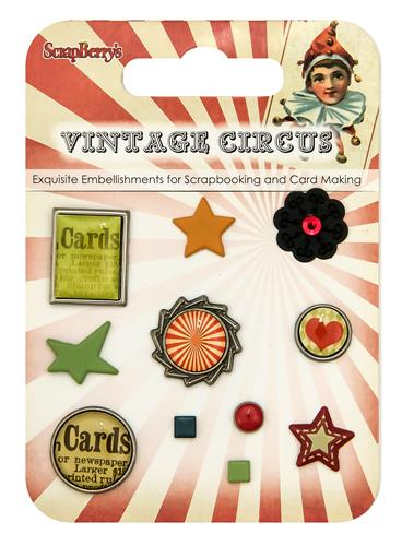 Set of decorative brads Vintage Circus