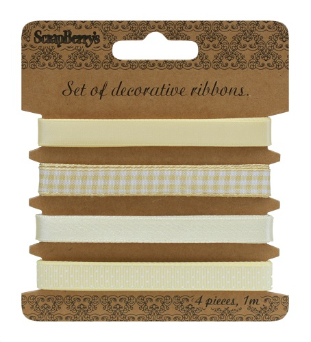 Set of decorative ribbons, Light yellow, 4 pieces, 1m each