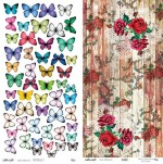 Double-sided paper 30x15cm 190 gsm, Butterflies 2/Flowers (1 sheet)