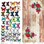 Double-sided paper 30x15cm 190 gsm, Butterflies 3/Bouquets (1 sheet)