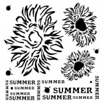 Stencil Summer Flowers - End of Summer, 15x15 cm thickness 1 mm