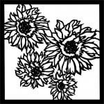 Stencil Sunflowers - End of Summer, 15x15 cm thickness 1 mm