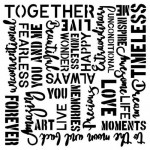 Stencil Vintage Words - Vintage Moments , 15x15 cm thickness 1 mm, by Olga Heldwein
