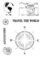 Set of polymer stamps A7 - Around The Globe - Travel the World