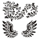 Stencil Wings With Ornament - Victoriana, 15x15 cm thickness 1 mm