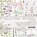 Small Paper Collection Set 15,5x30,5cm FELICI'TEA' - Extras to cut, 250 gsm (3 one-sided sheets, 3 designs)
