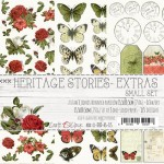 Small Paper Collection Set 15,5x30,5cm Heritage Stories - Extras to cut, 250 gsm (3 one-sided sheets, 3 designs)