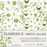Paper Collection Set 15,5x30,5cm Flowers II – White Lillies - Extras to cut, 250 gsm (2 one-sided sheets, 2 designs)
