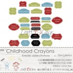 Paper Collection Set 5,5x30,5cm Childhood Crayons quotes, 250 gsm (3 double-sided sheets, 6 designs, quotes ENG, PL on the back)