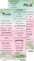 Double-sided paper 15,5x30,5cm Summertime Picnic inscriptions 190 gsm (1 sheet), ENG, PL on the back (clr 30)
