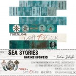Paper Collection Set 5,5x30,5cm Sea Stories - Extras to cut, 250 gsm (3 double-sided sheets, 6 designs, quotes ENG, PL on the back) (clr 30)