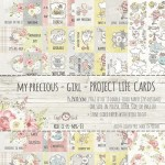 Set of project life cards My Precious - Girl, 190 gsm (10 double-sided sheets, 5 designs, 2 units of each sheet, ENG-PL inscriptions; 3 one sided she