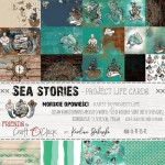 Set of project life cards Sea Stories 15x30 cm, 190 gsm (4 double-sided sheets, 8 designs)