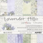 Paper Collection Set 20,3x20,3cm Lavender Hills, 190 gsm (18 double-sided sheets: 10 designs, 3 units of each sheet+ 3x design on the cover)