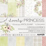 Paper Collection Set 20,3x20,3cm Lovely Princess, 190 gsm (18 double-sided sheets: 10 designs, 3 units of each sheet+ 3x design on the cover)