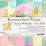 Paper Collection Set 20,3x20,3cm Summertime Picnic, 190 gsm (18 double-sided sheets: 10 designs, 3 units of each sheet+ 3x design on the cover)