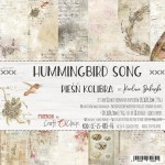 Paper Collection Set 20,3x20,3cm Hummingbird Song, 190 gsm (18 double-sided sheets: 10 designs, 3 units of each sheet+ 3x design on the cover)