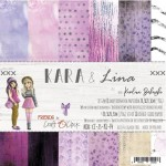 Paper Collection Set 20,3x20,3cm Kara & Lina, 190 gsm (18 double-sided sheets: 10 designs, 3 units of each sheet+ 3x design on the cover)