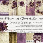Paper Collection Set 20,3x20,3cm Plum In Chocolate, 190 gsm (18 sheets, 10 designs, 3x5 double-sided sheets + 3x design on the cover)