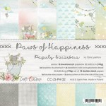 Paper Collection Set 20,3x20,3cm Paws of Happiness, 190 gsm (18 double-sided sheets: 10 designs, 3 units of each sheet+ 3x design on the cover)