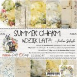Paper Collection Set 20,3x20,3cm Summer Charm, 190 gsm (18 sheets, 10 designs, 3x5 double-sided sheets + 3x design on the cover)