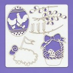 Chipboard elements - Easter 003, 148x148x1.5 mm, laser cut, Beermat (clr 30)