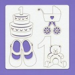 Chipboard elements - Kids 004, 148x148x1.5 mm, laser cut, Beermat