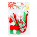 Dovecraft Junior Christmas Craft Pack - with foam shapes, pipe cleaners, buttons, sequins and pom poms in Green, Silver and Red (clr 50)