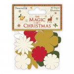 Dovecraft The Magic of Christmas Paper Blossoms (30 pcs, Cream, Red, Green and Golden) (clr 30)