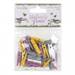 Dovecraft Nature's Grace Mini Pegs 35 Pack (35 pcs, from 2.5cm to 3.5cm)