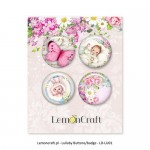 Set of embellishments - Lullaby 02, girl diameter 2,5 cm