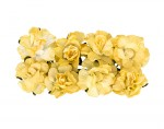 Paper Flowers - Curly Rose – Light Yellow (8 Pieces Per Pack) (clr 30)