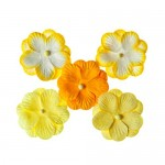 Pansies, Handmade Mulberry Double Paper Flowers 5 pieces, yellow