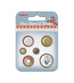 Set of wooden button Once Upon a Winter, 6 pcs (clr 90)