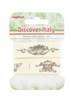 Printed cotton ribbon Discover Italy, 20mm, 2m (clr 50)
