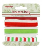 Set of decorative ribbons Discover Italy, 4 pcs, 1m each (clr 70)