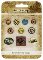 Crystal stickers decoration. Auto Vintage Set of 10 crystal stickers (clr 50)