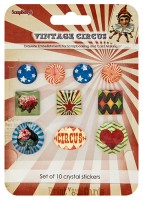 Crystal stickers decoration. Vintage Circus Set of 10 crystal stickers (clr 50)
