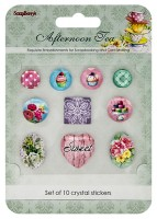 Crystal stickers decoration. Afternoon Tea Set of 10 crystal stickers (clr 50)